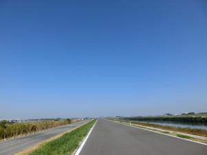 江戸川サイクリングロード 快晴 空