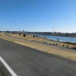 強風の中の江戸川サイクリングロード